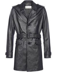 Saint Laurent Single-breasted Belted Coat - Black