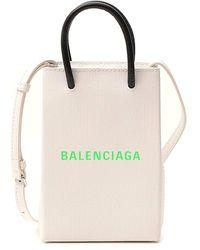 Balenciaga Phone Holder Tote Bag - White