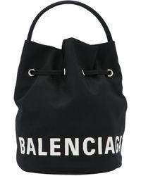 Balenciaga Wheel Xs Drawstring Bucket Bag - Black