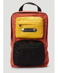 Marni Logo Patch Colour Block Backpack - Multicolour
