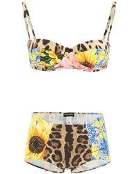 Dolce & Gabbana Dolce & Gabbana Patchwork Print Balconette Bikini - Multicolour