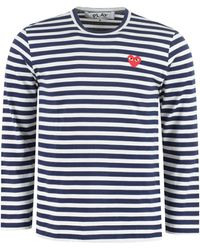 COMME DES GARÇONS PLAY Striped Heart Long-sleeve T-shirt - Blue