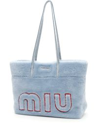 Miu Miu - Logo Shearling Shopper - Lyst