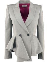 Alexander McQueen Peplum Jacket - Grey