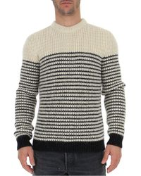 Saint Laurent Striped Knitted Pullover - Grey