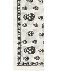 Alexander McQueen Classic Skull Print Scarf - White
