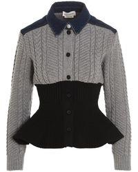 Alexander McQueen Paneled Knitted Peplum Shirt - Gray