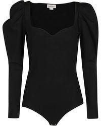 Alexander McQueen Puff-sleeved Sweetheart Neck Bodysuit - Black