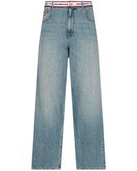 Balenciaga Logo Waistband Straight Leg Jeans - Blue