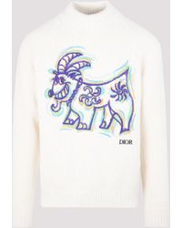 Dior X Kenny Scharf Goat Embroidered Sweater - White