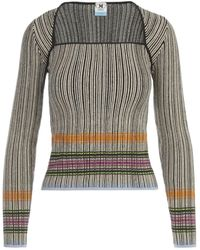 M Missoni Striped Knitted Top - Grey