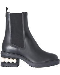 Nicholas Kirkwood Embellished-heel Boots - Black