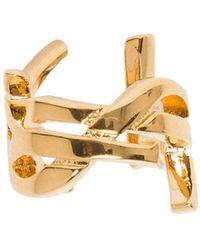 Saint Laurent Monogram Ear Cuff In Gold Brass - Metallic