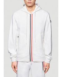 Moncler Zip Up Hooded Sweatshirt - White