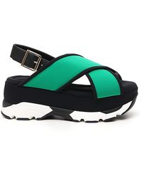 Marni Fussbett Platform Sandals - Green