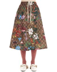Gucci GG Flora Print Jersey Skirt - Multicolor