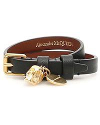 Alexander McQueen Double Wrap Skull Bracelet - Black