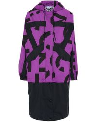 KENZO Two-tone Polyester Sport Raincoat - Purple