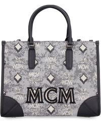 MCM Visetos Jacquard Top Handle Tote Bag - Grey
