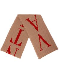 Valentino Logo Knit Scarf - Brown