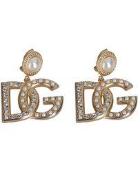 Dolce & Gabbana Dg Logo Earrings - Metallic