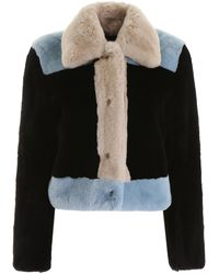 Marni Colour Block Fur Jacket - Black