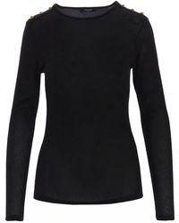 Balmain Buttoned Jersey Jumper - Black