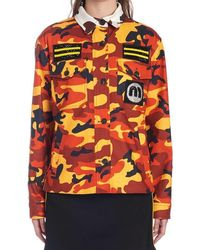 Miu Miu Camouflage Logo Jacket - Orange