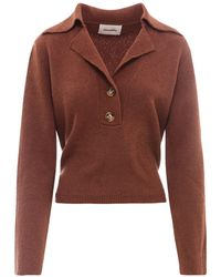 Nanushka Rosalie Belted Knit Sweater - Brown