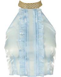 Miu Miu Halter-neck Ruffled Top - Blue