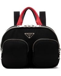 Prada Zipped Logo Plaque Backpack - Black
