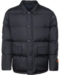 Heron Preston Padded Jacket With Zip And Buttons - Blue