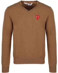 COMME DES GARÇONS PLAY V-neck Knit Sweater - Brown