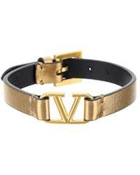 Valentino Vlogo Plaque Bracelet - Metallic