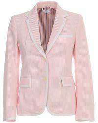 Thom Browne Striped Blazer - Pink
