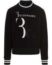 Billionaire Logo Print Crewneck Sweatshirt - Black