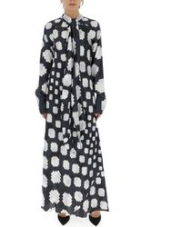 Marni Graphic Printed Pussybow Maxi Dress - Multicolour