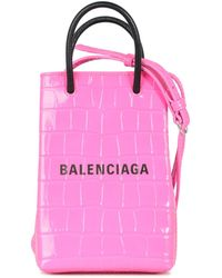 Balenciaga Logo Print Embossed Phone Holder - Pink