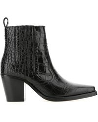 Ganni Western Ankle Boots - Black