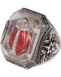 Alexander McQueen Embellished Bug Engraved Ring - Metallic