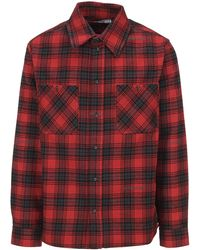 Off-White c/o Virgil Abloh Stencil Flannel Check Shirt - Red