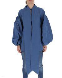 Valentino High-neck Puff-sleeve Top - Blue
