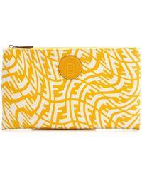 Fendi Ff Vertigo Motif Clutch Bag - Yellow