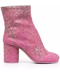 Maison Margiela Tabi Glittery Ankle Boots - Pink