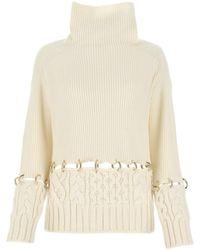 Sacai Ring Embellished Sweater - White