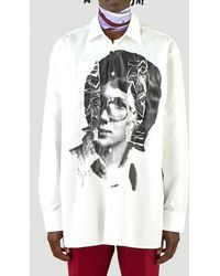 Raf Simons Raf Simon Ruffled Portrait Print Shirt - White