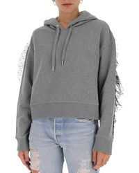 RED Valentino Tulle-embellished Hoodie - Grey