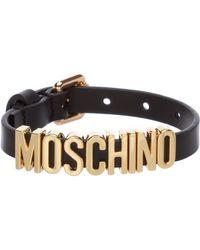 Moschino Lettering Strap Bracelet - Black