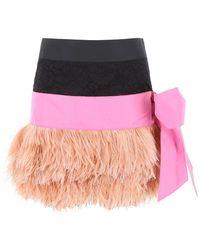 N°21 Feather Trim Mini Skirt - Multicolor