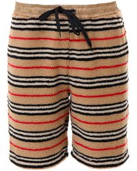Burberry Holwell Icon-striped Fleece Basketball Shorts - Natural